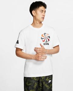 Nike-Sportswear-Girandola-Uomo-T-Shirt-L-Bianco-Vintage-Casual-Formazione-Scuola