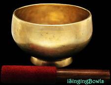 """Antique Tibetan Singing Bowl: Stem 6 1/2"""" Dia., ca.18th Century, D4 & G#5. VIDEO"""