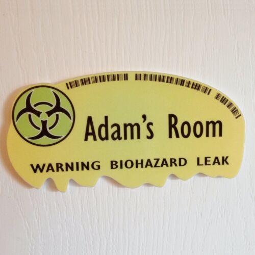 Personalised Door Name Plaque Biohazard Warning Zombie Bedroom Room Sign