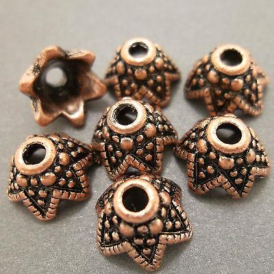Antique Copper Alloy Metal Star Bead Caps  50 Pieces 9mm  #0688