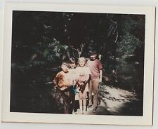 Vintage 60s 70s Polaroid PHOTO Little Boys & Girls w/ Dolls In Nature