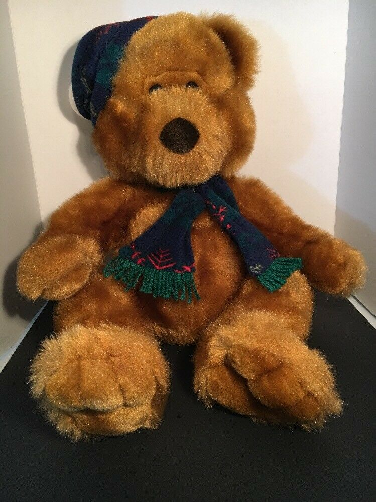 "JC Penney Holiday Collection Golden Christmas Teddy Bear 25"" Hat Scarf Free ship"