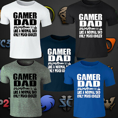 Gamer Dad Fathers Day T Shirt Men Gaming Funny Gift t-shirt White 100/% cotton