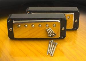 Mini-Humbucker-Coversion-Set-For-P90-Cutout-4-Wire-For-Coil-Tap-Black