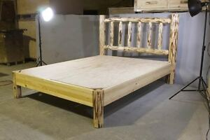 Image Is Loading Amish Log PLATFORM Bed Rustic QUEEN Beds Rustic