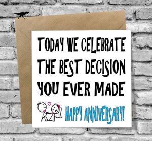 Greetings Card Happy Anniversary Funny Humour Love Joke Husband Wife