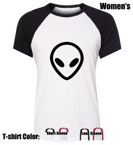 Cartoon-UFO-Alien-FACE-Design-Women-039-s-Girl-039-s-T-Shirt-Casual-Graphic-Tee-Tops