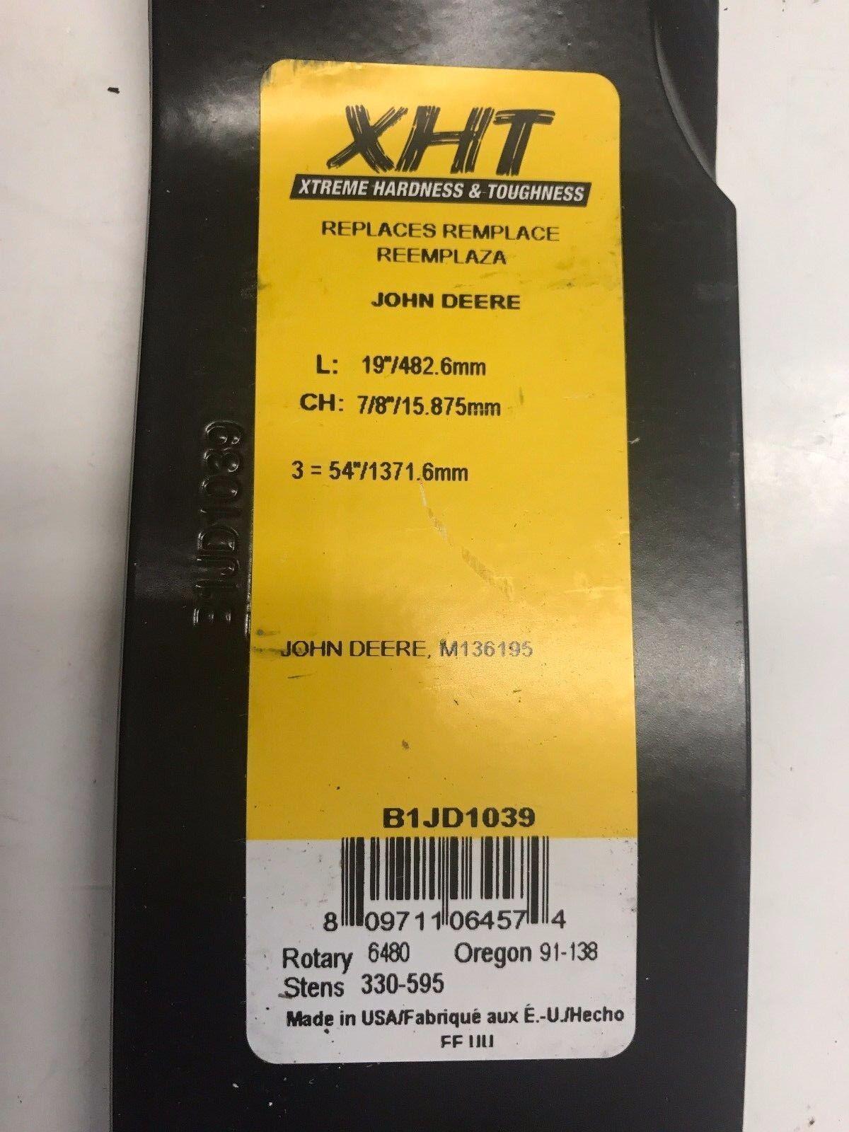 """John Deere Riding Mower Blade XHT 19/"""" 7//8/"""" Part No A-B1JD1039 Z trak M653 M6..."""