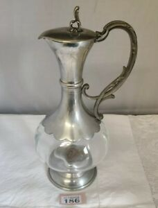Antique-Glass-Claret-Jug-With-Pewter-Lidded-Handle-Top-amp-Base-12-Tall