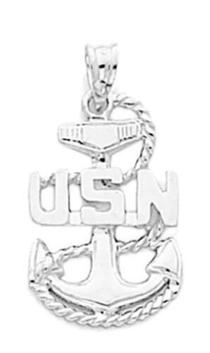 New 0.925 Sterling Silver US Navy USN Military Pendant