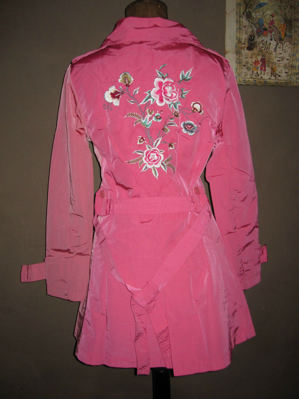 TRENCH CUSTO BARCELONA pink BRODERIE FLEURS T F 36 I 40 TBE