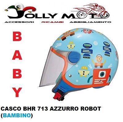CASCO JET JIUNIOR BIMBO BHR 713 ROBOT CON VISIERA OMOLOGATO TAGLIA YL 52-54 CM
