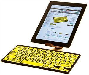 LKB-LPBY-BTON Black on Yellow Bluetooth Mini Keyboard LogicKeyboard XL Print