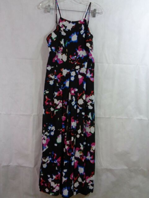 293e111d108 State Women s Black Floral Pleated Culotte Wide Leg Jump Suit Size 6 NWT