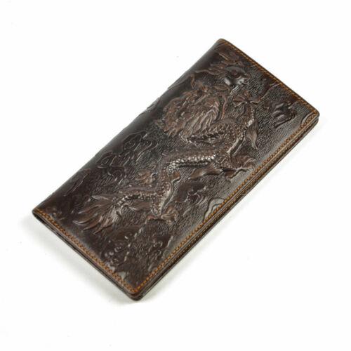 Homme Cuir Véritable deux volets Organisateur chéquier Carte Wallet Case dragon en relief
