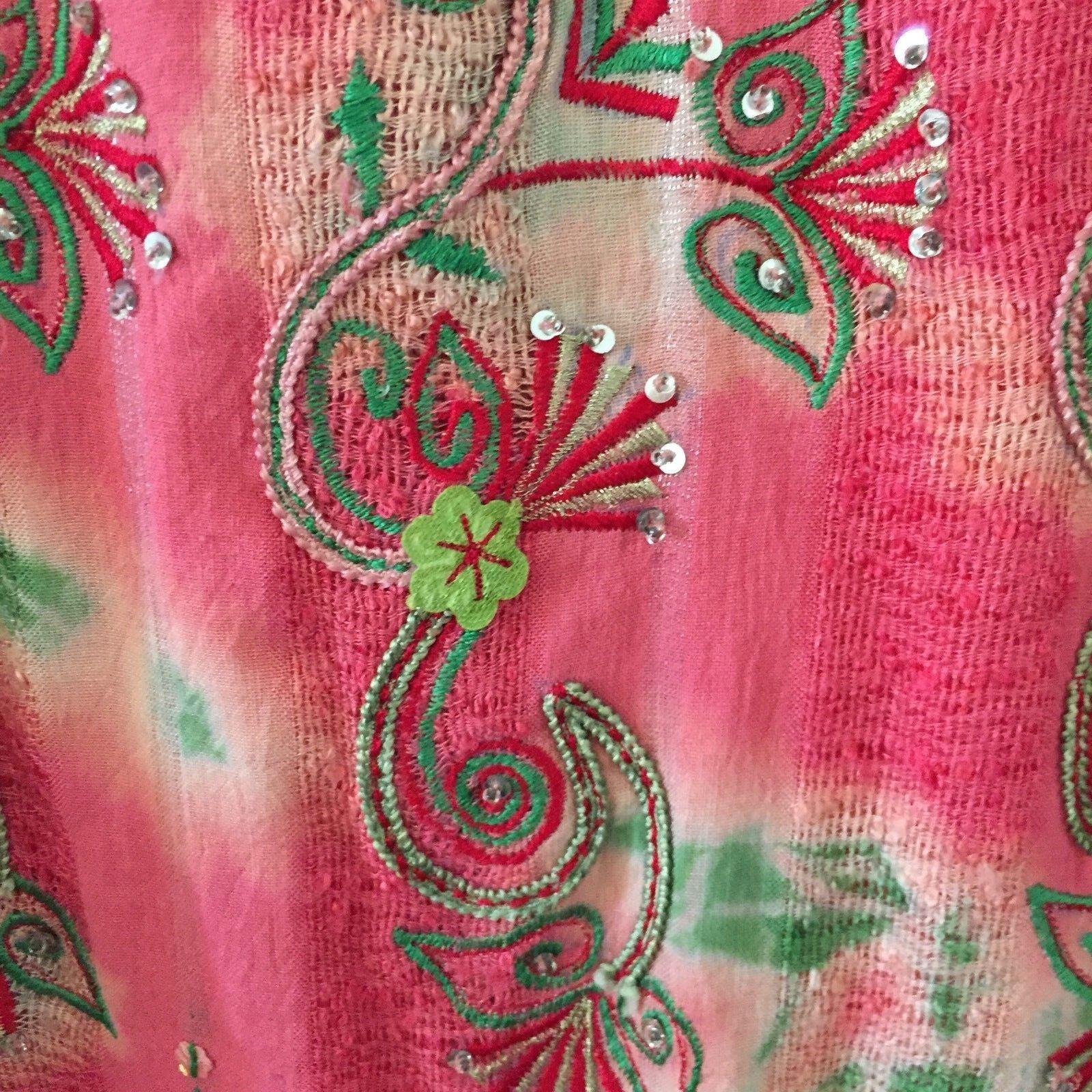 Vintage Authentic Indian Maxi Dress Embroidery Crochet Hippy Boho Women's S