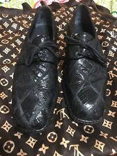 David Eden Crocodile Black  Patch Dress Shoes; 8.5 Made In Italy
