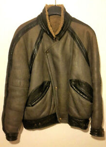 Romagnoli-giubbotto-bomber-in-pelle-shearling-colore-nero-Tg-L-Vintage