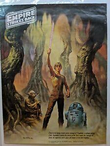 Vintage 1980 Star Wars Boris Coca-Cola #1 Poster 24X18 Yoda R2-D2 Skywalker