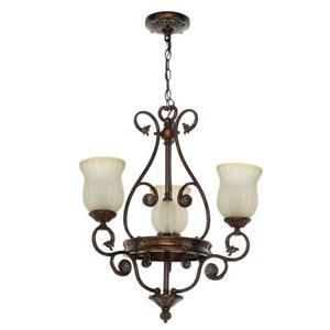 Hampton Bay Freemont Collection 3-Light Hanging Antique Bronze Chandelier