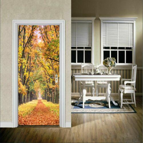 US 3D Art Door Wall Fridge Stickers Decals Self Adhesive Mural Home Decors DIY