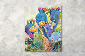 Watercolor-Cactus-Flower16x20-034-Modern-Art-Poster-Print-Wall-Decor-Canvas-Painting