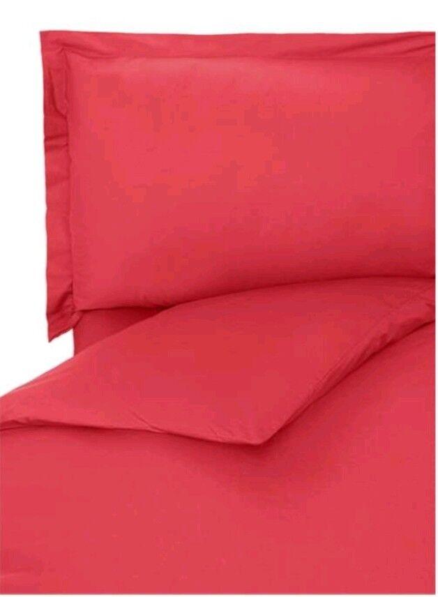 House Of Fraser Linea Home Egyptian Cotton Super King Duvet Cover Raspberry Bnib