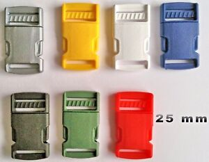 2-Plastic-Side-Release-Buckles-25mm-Fasteners-For-Webbing-Straps