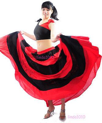New Belly Dance Costume Flamenco Full Circle Long Dress Skirt Red&Black