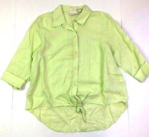 chicos tie front 3/4 sleeve button down shirt linen lime green size 1 small 8