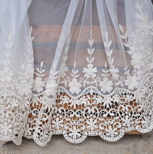 Lace Trim Beige Retro Cotton Embroidery Fabric Wedding 19 inches width 1 yard