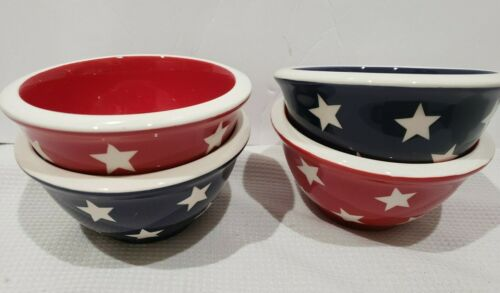 4th of July Patriotic Terramoto Style Red SMALL Ceramic Nesting Bowls Set of 4