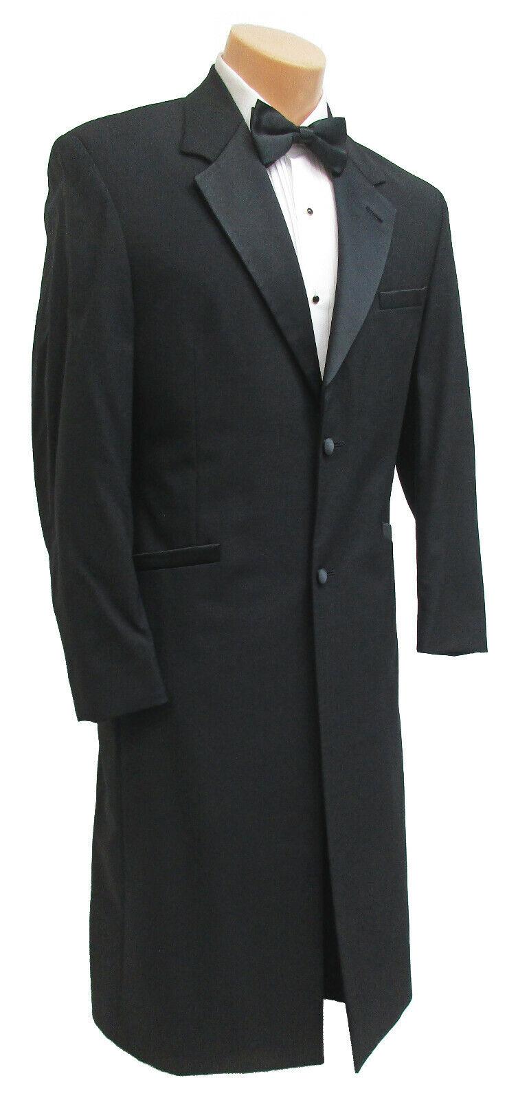 Men's Long Black Andrew Fezza Tuxedo Frock Coat Church Wedding Formal Mason 38R