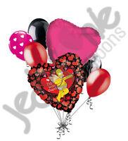 7 Pc Homer Simpson Cupid Love Happy Valentines Day Balloon Bouquet Mine Hug Kiss