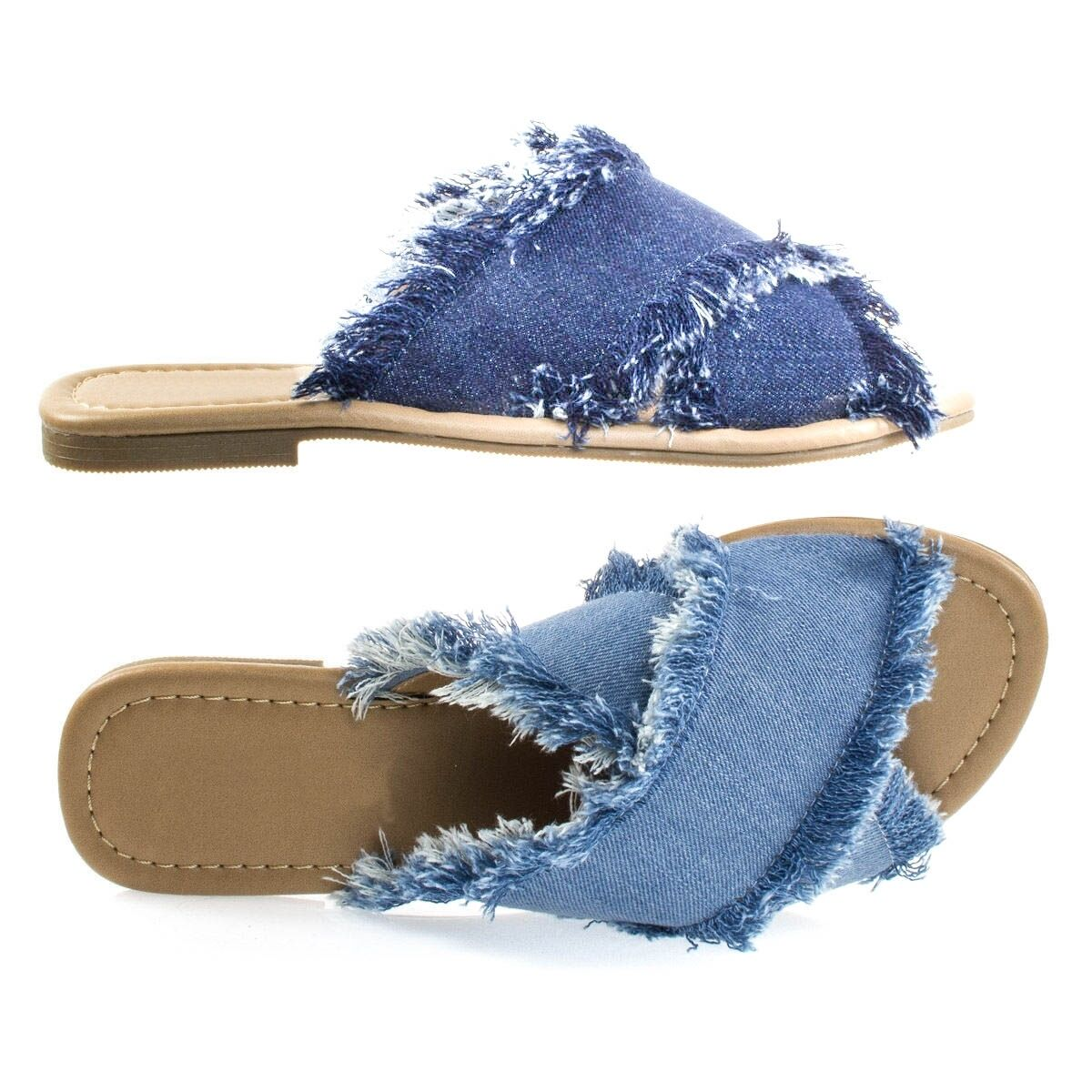Women Frayed Destroyed Denim Block Crossed Straps Open Toe Block Denim Flats Heels Sandals 4f2631