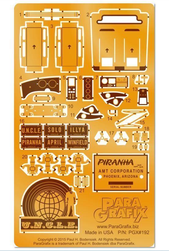 Paragrafix PGX192 Piranha Super Spy Car Photoetch and Decal Set For AMT916 12