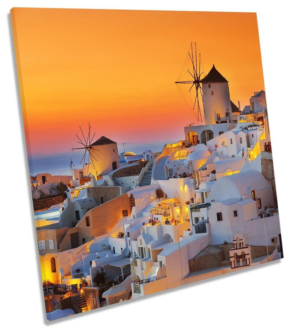 Santorini Island Sunset Bild CANVAS Wand Kunst Square Drucken Orange