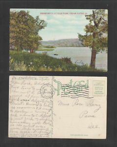 1909-CEDAR-RIVER-AT-ELLIS-PARK-CEDAR-RAPIDS-IOWA-POSTCARD-No-Postage-Stamp