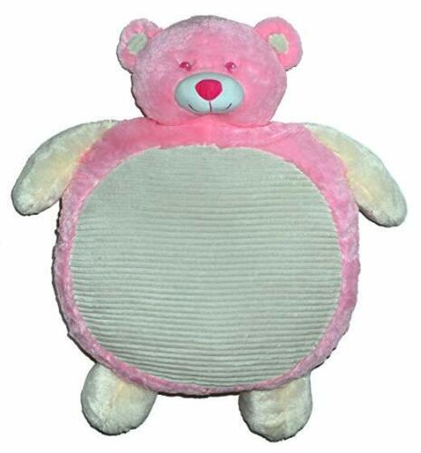 NEW PINK BEAR BABY MAT PLUSH STUFFED BLANKET CUDDLE BUDDY