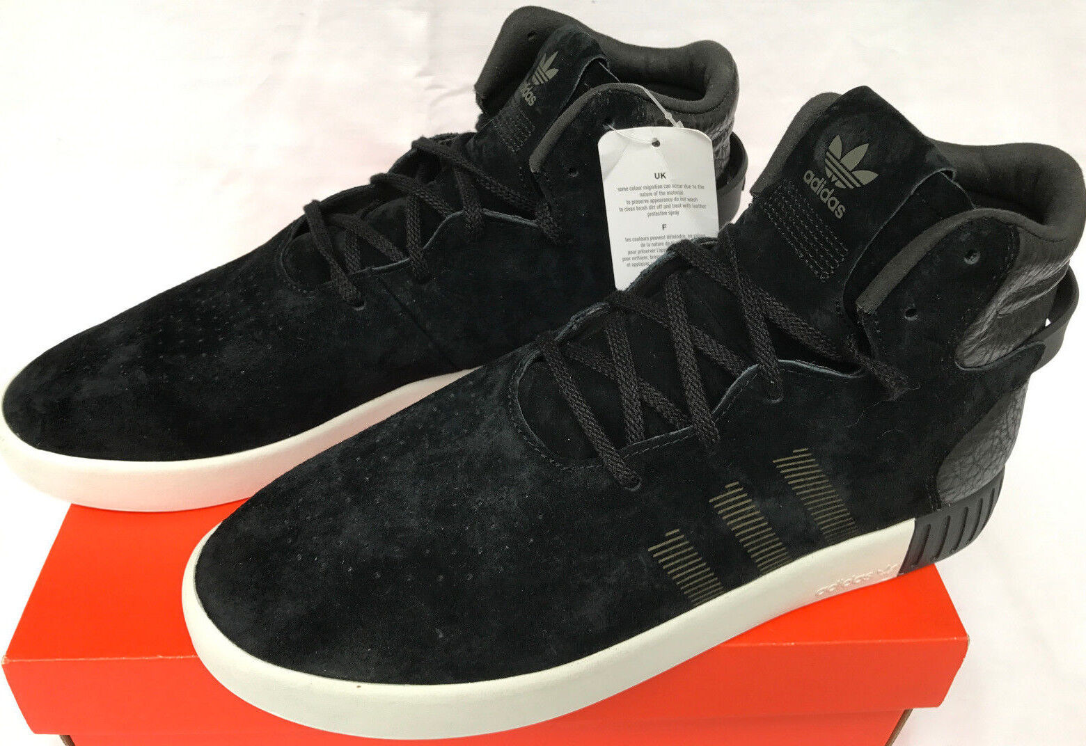 Adidas Tubular Invader S80241 Noir Suede Leather Basketball Shoes Men's 11 new