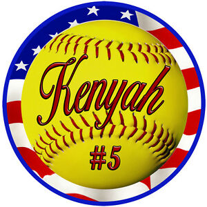 2-Softball-USA-Flag-Decal-Bumper-Sticker-Personalize-Gifts-AnyText-Many-Colors