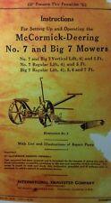 Mccormick Deering Ih No 7 Amp Big 7 Sickle Bar Hay Field Mower Owner Ampparts Manual