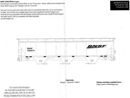 HO Scale Microscale 87-1288 BNSF Swoosh Wedge Freight Cars Decal Set
