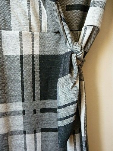 New Womens Ex Branded Black /& Grey Square Check Mock Wrap Over Dress Size 6-16