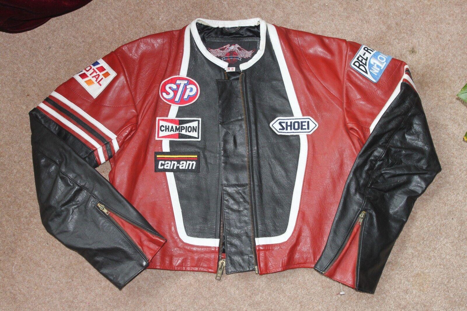 Señoras  Unisex Chaqueta De Cuero Motociclistas americano.. M.A. USA.. chaqueta de cuero moto  servicio honesto
