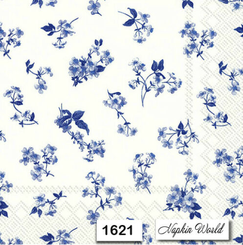 TWO Individual Paper Luncheon Decoupage Napkins 1621 BLUE FLOWER PATTERN