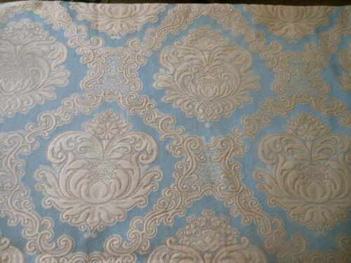 Vintage French Floral Medallion Jacquard Cotton Fabric ~ Soft Blue Beige Cream