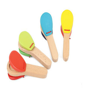 Creative-Wooden-Castanet-Clapper-Handle-Musical-Instrument-Toy-Educational-Toy