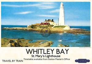 British Rail Whitley Bay Lighthouse Railway Poster A3//A2 Print
