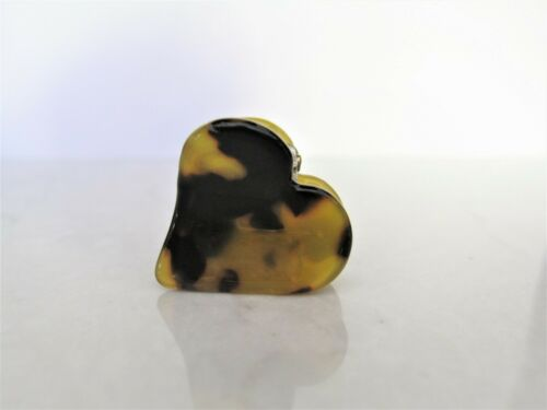 Small mini brown marbled tortoise heart shaped hair claw clip